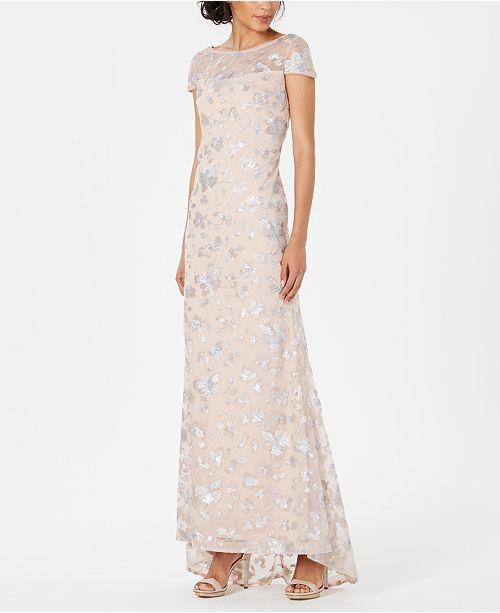Calvin Klein Embellished Mesh Gown