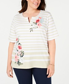 Karen Scott Plus Size Split-Neck Mixed-Print Top, Created for Macy's
