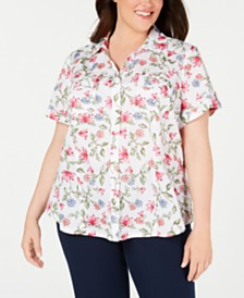 Karen Scott Plus Size Cotton Swiss-Dot Floral-Print Blouse, Created for Macy's