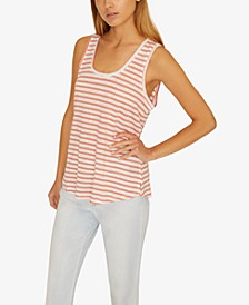 Ruby Striped Scoop-Neck Linen Tank Top