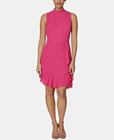 Betsey Johnson Petite Mock-Neck Ruffled Sheath Dress