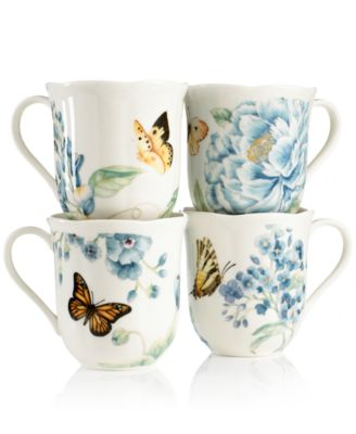 Set of 4 Butterfly Meadow Blue Assorted Mugs