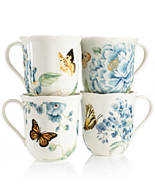 Lenox Dinnerware, Set of 4 Butterfly Meadow Blue Assorted Mugs