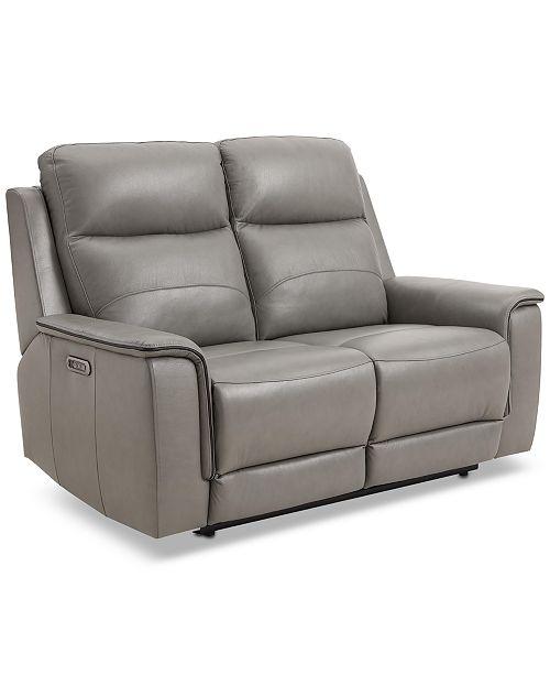 Fine Goodwick 61 Leather Dual Power Motion Loveseat Created For Macys Machost Co Dining Chair Design Ideas Machostcouk
