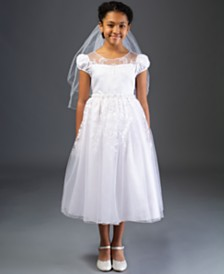 Bonnie Jean Embroidered Illusion Cap Sleeve Communion Dress