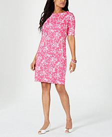 Karen Scott Printed Boat-Neck Dress, Created for Macy's