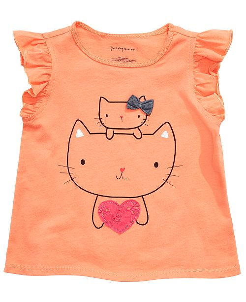 First Impressions Baby Girls Heart Kitty-Print T-Shirt, Created for Macy's
