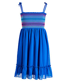 Epic Threads Big Girls Smocked Tie-Shoulder Dress, Created for Macy's