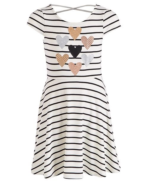 Epic Threads Big Girls Sparkle Heart Striped Dress, Created for Macy's