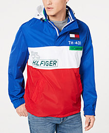 Tommy Hilfiger Men's Crew Colorblocked Logo Jacket with Zip-Out Hood