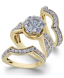 Diamond Cluster 3-Pc. Bridal Set (2 ct. t.w.) in 14k Gold