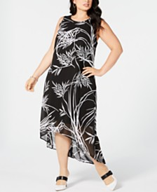 Alfani Plus Size Printed High-Low Maxi Dress, Created for Macy's