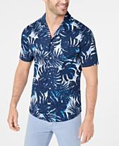1672d546 Michael Kors Men's Slim-Fit Stretch Palm-Print Camp Shirt, Created for  Macy's