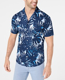 Michael Kors Men's Slim-Fit Stretch Palm-Print Camp Shirt, Created for Macy's