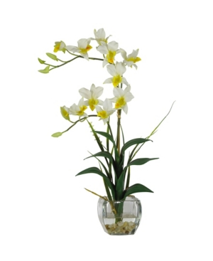 Nearly Natural Dendrobium with Glass Vase Silk Flower Arrangement