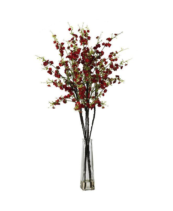 Nearly Natural Cherry Blossoms w/Vase Silk Flower Arrangement