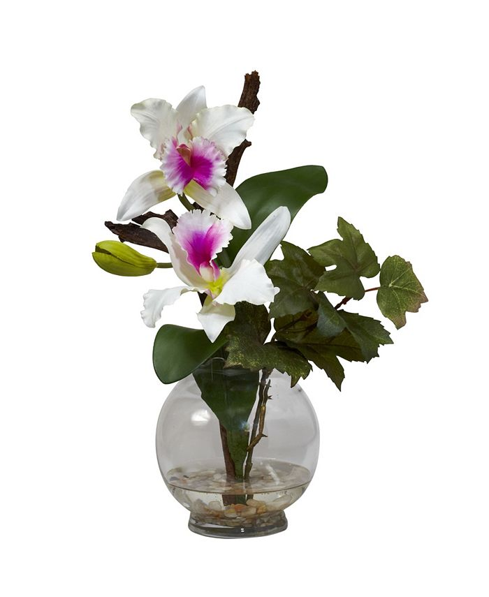 Nearly Natural - Mini Cattleya w/Fluted Vase Silk Flower Arrangement