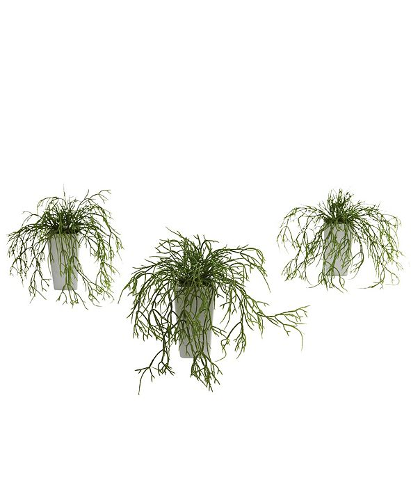 Nearly Natural Wild Grass w/White Vase, Set of 3