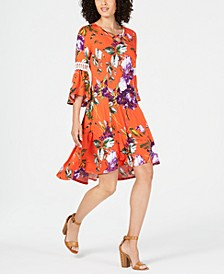 Petite Printed Crochet-Trim Dress