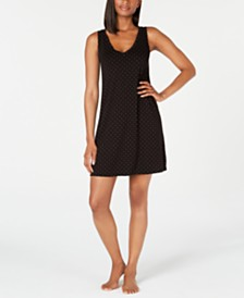 Alfani Knit Dot-Print Chemise Nightgown, Created for Macy's