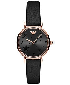 Emporio Armani Women's Black Leather Strap Watch 32mm