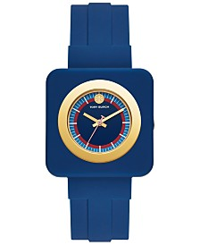 Tory Burch Women's Izzie Navy Rubber Strap Watch 36mm