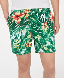Michael Kors Men's Slim-Fit Stretch Jungle-Print Shorts, Created for Macy's