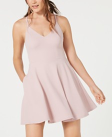 Speechless Juniors' Lace-Back Fit & Flare Dress