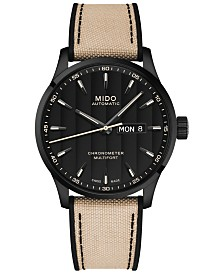 Mido Men's Swiss Automatic Multifort Chronometer Beige Fabric & Black Silicone Strap Watch 42mm