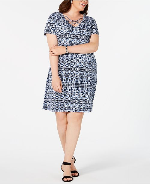 NY Collection Plus Size Lattice-Front Dress