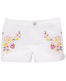 Epic Threads Big Girls Floral-Embellished Denim Shorts, Created for Macy's