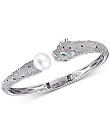 Tiara Pearl & Cubic Zirconia Panther Cuff Bracelet in Sterling Silver