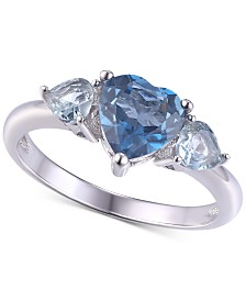 Simulated Blue Topaz Heart Ring in Sterling Silver