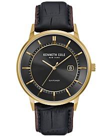Kenneth Cole New York Men's Solar Black Leather Strap Watch 42mm