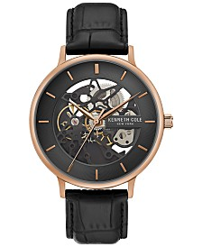 Kenneth Cole New York Men's Automatic Black Leather Strap Watch 43mm