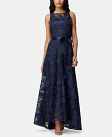 Tahari ASL Belted Soutache Illusion Gown
