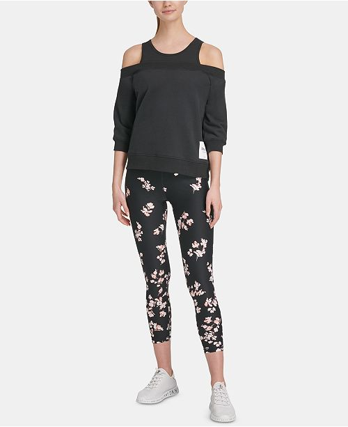 178c26c34295be DKNY Sport Cotton Cold-Shoulder Top & Reviews - Tops - Women - Macy's