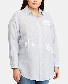 Lauren Ralph Lauren Plus Size Embroidered Relaxed Fit Linen Shirt