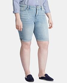 Plus Size Denim Bermuda Shorts