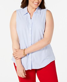 Charter Club Plus Size Sleeveless Button-Front Cotton Top, Created for Macy's