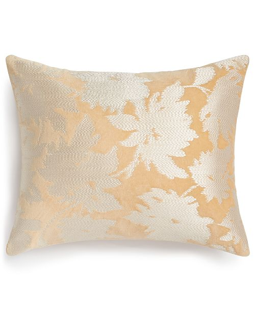 "Lucky Brand CLOSEOUT! Embroidered Floral 260-Thread Count 16"" x 20"" Decorative Pillow, Created for Macy's"