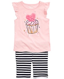 Epic Threads Little Girls Cupcake Heart Graphic Flutter Top & Striped Bermuda Shorts Separates, Created for Macy's