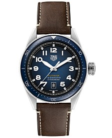 TAG Heuer Men's Swiss Automatic Autavia Calibre 5 Brown Leather Strap Watch 42mm