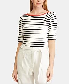 Lauren Ralph Lauren Striped Boat-Neck Top