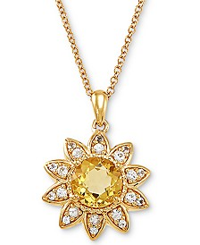 "Citrine (1-5/8 ct. t.w.) & White Sapphire (1/3 ct. t.w.) Floral 18"" Pendant Necklace in 10k Gold"