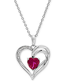 """Lab Created Ruby (1-5/8 ct. t.w.) & Diamond Accent Heart 18"""" Pendant Necklace in Sterling Silver"""