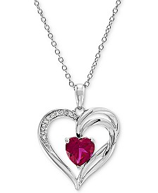 "Lab Created Ruby (1-5/8 ct. t.w.) & Diamond Accent Heart 18"" Pendant Necklace in Sterling Silver"