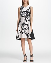 660d1a5868f DKNY Colorblocked Floral Fit   Flare Dress