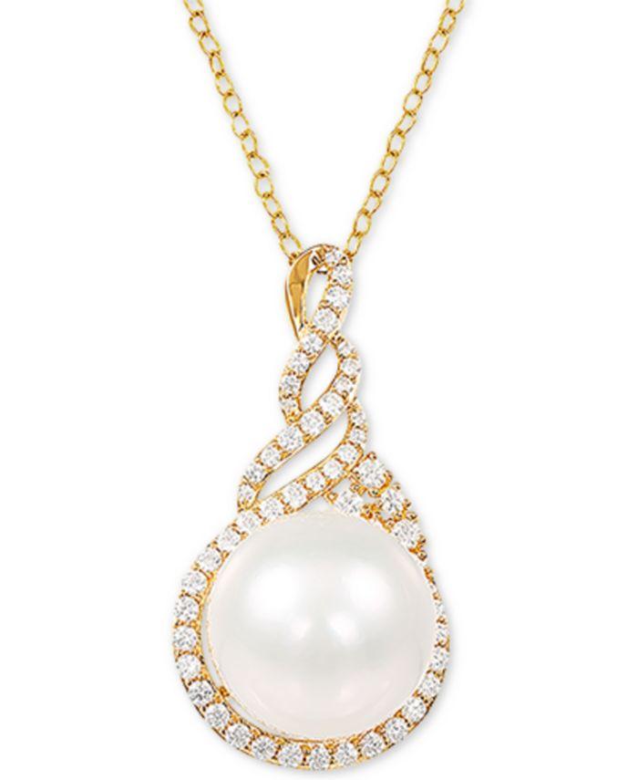 "Arabella - Cultured White Ming Pearl (13-14mm) & Swarovski Zirconia 18"" Pendant Necklace in 14k Gold Over Sterling Silver"