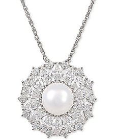 "Cultured Freshwater Pearl (9mm) & Swarovski Zirconia 18"" Pendant Necklace in Sterling Silver, Created for Macy's"